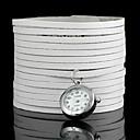 Womens Wide White PU Band Quartz Analog Bracelet Watch