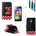 Black Polka Dot Bow Pattern PU Leather with Touch Pen and Protective Film 2 Pcs for Samsung Galaxy S5 Mini