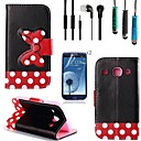 Black Polka Dot Bow Pattern PU Leather with Touch Pen,Protective Film 2 Pcs,Headset for Samsung Galaxy Core I8262