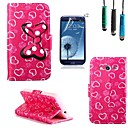 Love Bow Pattern PU Leather with Touch Pen and Protective Film 2 Pcs for Samsung Galaxy Core 2 G355H