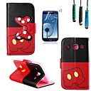 Bow Pattern PU Leather with Touch Pen and Protective Film 2 Pcs for Samsung Galaxy Core I8262
