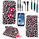 Leopard Bow Pattern PU Leather with Touch Pen,Protective Film 2 Pcs,Headset for Samsung Galaxy Core I8262