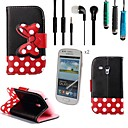 Black Polka Dot Bow PU Leather with Touch Pen,Protective Film 2 Pcs and Headset for Samsung Galaxy S3 MINI I8190N