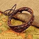 Classic Mens Brown Weave PU Leather Bracelets