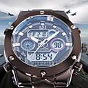 ASJ Hombre Reloj de Pulsera Japonés Acero Inoxidable Plata 30 m Resistente al Agua Despertador Calendario Analógico-Digital Lujo Moda - Blanco Azul Dos año Vida de la Batería / Cronógrafo / LCD