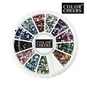 2000PCS 12 Couleur 1.5mm circulaire diamant Nail Art Décorations