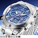 ASJ Hombre Reloj Deportivo Reloj de Pulsera Japonés Cuarzo 30 m Resistente al Agua Despertador Calendario Acero Inoxidable Banda Analógico-Digital Lujo Plata - Blanco Negro Azul Dos año Vida de la