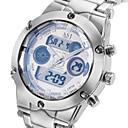 ASJ Hombre Reloj Deportivo Reloj de Pulsera Japonés Cuarzo Acero Inoxidable Plata 30 m Resistente al Agua Despertador Calendario Analógico-Digital Lujo - Blanco Negro Azul Dos año Vida de la Batería