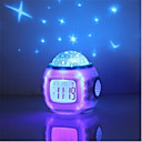 1pc Reloj despertador musical Sky Projector NightLight Colorido Pilas AAA alimentadas Para Niños / Color variable / Decoración Batería