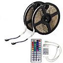 10m (2  5m) 3528 600 leds impermeables rgb 44keys ir controlador remoto tiras de luz led flexibles