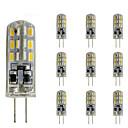 10 pcs 1.5w delgado g4 led bombilla de cristal bi-pin 24 smd 3014 dc 12v verde azul rojo luz