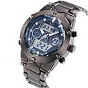 ASJ Hombre Reloj de Pulsera Japonés Acero Inoxidable Plata 30 m Resistente al Agua Despertador Calendario Analógico-Digital Lujo - Blanco Negro Azul Dos año Vida de la Batería / Cronógrafo / LCD