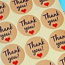 10sheet / 120pcs papel kraft gracias etiquetas de regalo de boda favorece los accesorios banquete de boda de arpillera bricolaje