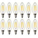 12PCS 4W 400 lm Bombillas de Filamento LED C35 4 leds COB Regulable Decorativa Blanco Cálido AC 100-240 AC 110-130 V