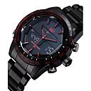 ASJ Hombre Reloj de Pulsera 30 m Resistente al Agua Despertador Calendario Acero Inoxidable Banda Analógico-Digital Lujo Negro - Negro Rojo Azul Dos año Vida de la Batería / Cronógrafo / LCD