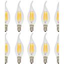 10pcs 6W 560lm E14 Bombillas de Filamento LED C35L 6 Cuentas LED COB Decorativa Blanco Cálido / Blanco Fresco 220-240V / 10 piezas