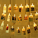 '2m 20 Pcs Led Photo String Lights 20 Photo Clips Battery Powered Or Usb Interface Fairy Twinkle Lightshanging Photos Cards And Artwork Warm White