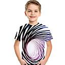 Gaver Børn Baby Drenge Aktiv Basale Blå  Hvid Magiske Kuber Stribet Geometrisk 3D Trykt mønster Kortærmet T-shirt Regnbue