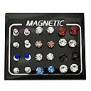 '24 Pieces Magnetic Fake Plug Lot Fake Gauges Ear Studs Round Rhinestone Stud Earring Mix Gauges Look(12 Pairs Colorful)