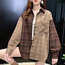 Mujer Blusa Camisa A Cuadros Cuadrícula Estampados Manga Larga Retazos Cuello Camisero Tops Básico Top básico Caqui
