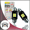 'Otolampara 2pcs Car Led Number Plate Light 212-1 212-2 Bulb 6w 6000k Can-bus Led Festoon Bulb 31mm 36mm 39mm 41mm Energy-saving Plug And Play Led Bulb C5w White Color