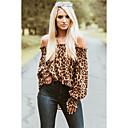 Blusa de mujer camisa estampado de leopardo con hombros descubiertos blusa suelta chinoiserie blusa básica marrón
