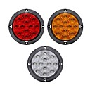 '2 Pcs 4w  Abs Housing 12 Led Clear Lens Red 4inch Round Brake Stop Truck Tail Light