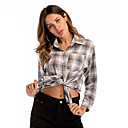 Mujer Blusa Camisa Cuadrícula Manga Larga Retazos Botón Estampado Cuello Camisero Tops Básico Top básico Gris