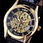 WINNER Men's Hollow Gold Skeleton Mechanical Leather Band Wrist Watch Cool Watch Unique Watch Fashion Watch 4611