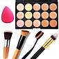 1PCS 15 Colors Professional Natural Contour Face Cream/Facial Concealer Makeup Palette1 Contour Brush1 Powder Puff 4611