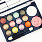 Professional 2in1 BlusherEyeshadow 12 Glitter Shimmer Color Eyeshadow2 Blush Neutral Nude Eye Shadow Cosmetic Makeup Palette Set with Brush Mirror 4611