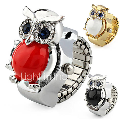 Orologio-anello in metallo con gufo copri-quadrante
