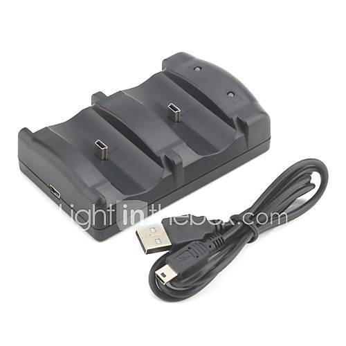 de doble puerto de carga USB para ps3 controlador inalámbrico (negro) Descuento en Miniinthebox