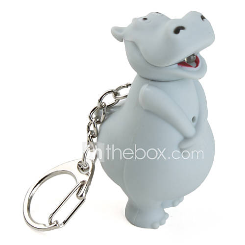 Key Chain Hippo Cartoon LED Lighting / Sound Gray ABS