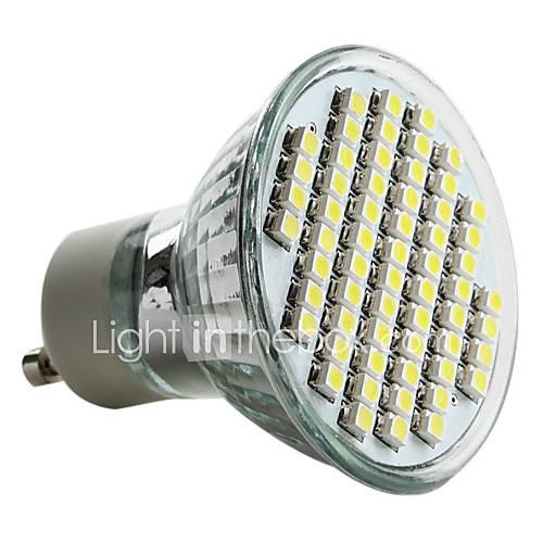 Wholesale Engergy Saving GU10 60 SMD 3528 3W LED Bulb Warm Pure White Light 220V