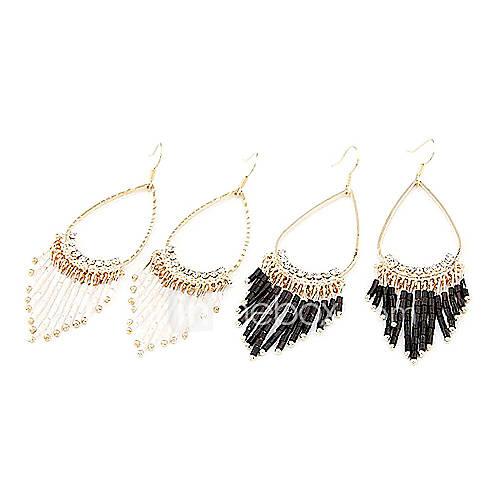 Ellittiche orecchini tenda di perline