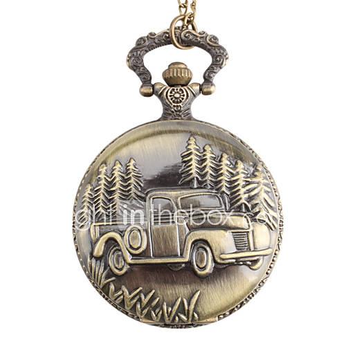 hommes en alliage de voiture montre analogique à quartz de poche (bronze)