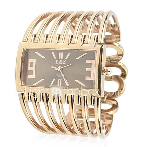 Metallo Donna banda analogico al quarzo orologio da polso con Rolling ornamentazione Perline (d'oro)