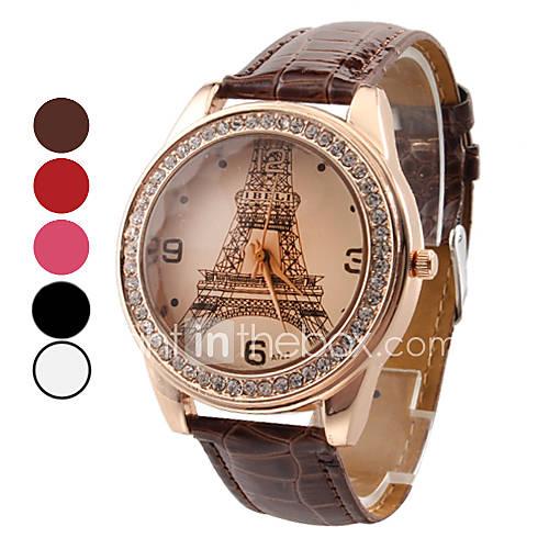 Женские аналоговые кварцевые наручные часы с изображением Эйфелевой башни и ремешком из кожзама (разные цвета