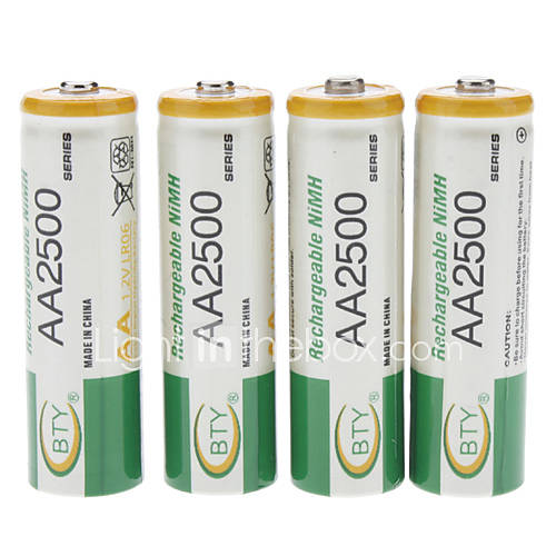 2500mAh bty batteria AA Ni-MH (4