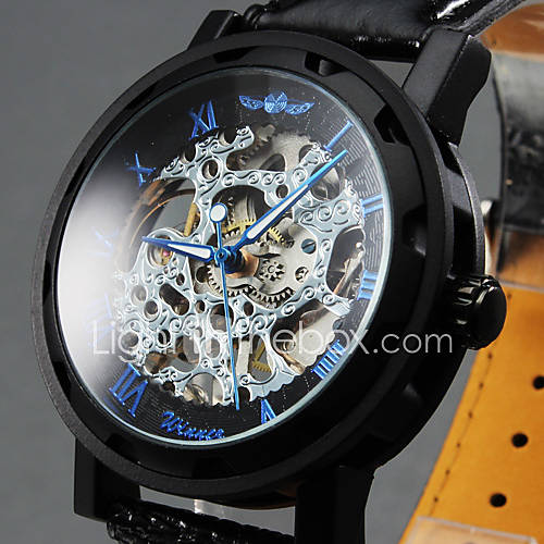 WINNER Men's Hollow Skeleton Manual Mechanical Leather Band Wrist Watch Cool Watch Unique Watch