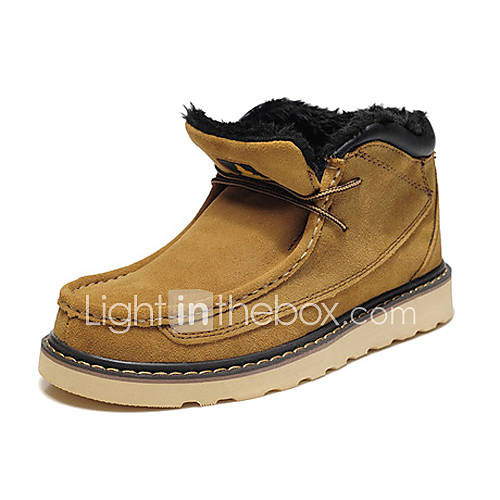 Echtes Leder Herren Wolle Flacher Ankle Snow Boots