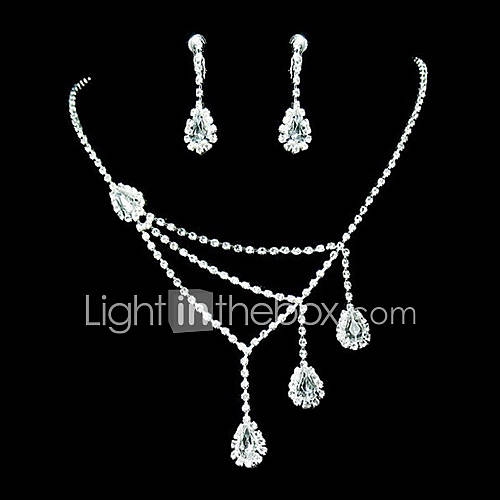 Women's Rhinestone Costume Jewelry Alloy Necklaces Earrings For Party Special Occasion Anniversary Birthday Gift Wedding Gifts