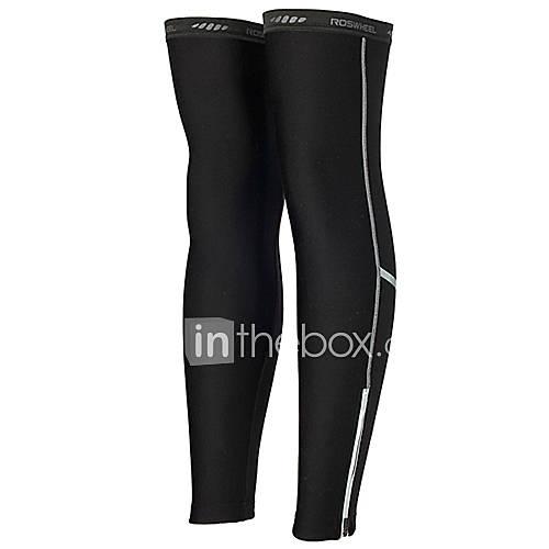 ROSWHEEL 90% Polyester 10% Spandex hohe Atmungsaktivität Fleece winddicht Radfahren Leg Warmers (Black) 45.651