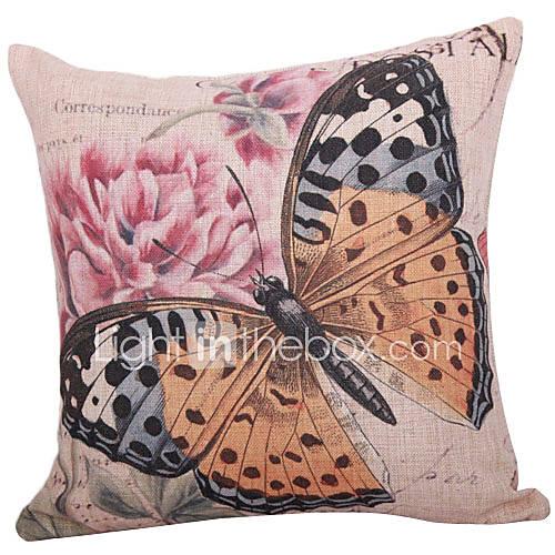 Klassische Schmetterling Baumwolle / Leinen Dekorative Kissenbezug