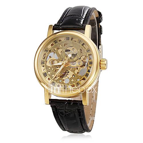 XmasSale Women's Hollow Style PU Analog Mechanical Wrist Watch (Black
