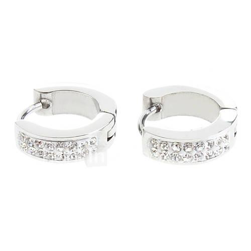 Dos hileras de diamantes Pendientes de acero inoxidable Descuento en Miniinthebox