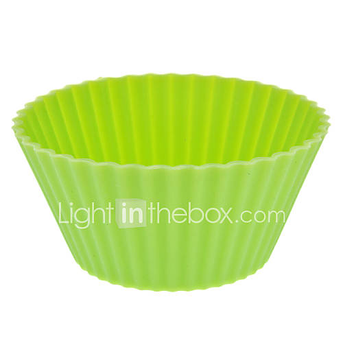 Rounded Colorful Silicone Cup Cake Mould (Random Color)