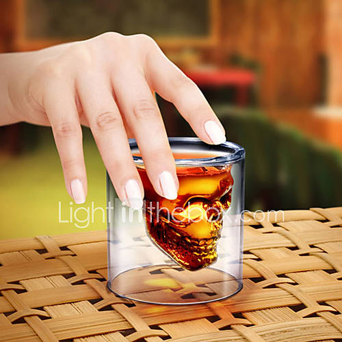 Creative Crystal Skull Shot Double Layer Glass Cocktail Beer Cup
