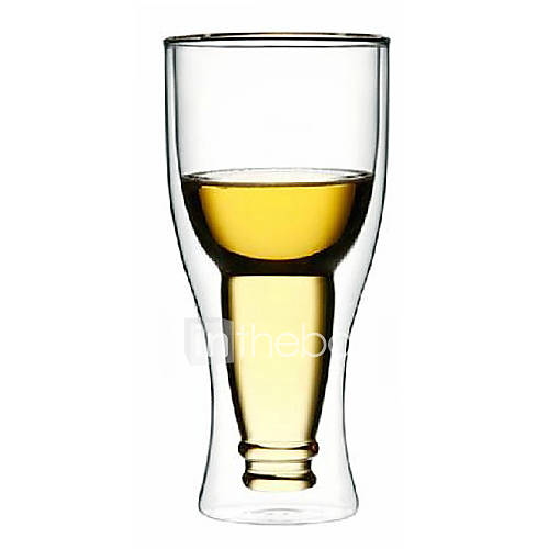 Upside Down Beer Bottle Style Double Walled Glass